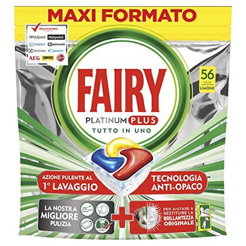 Fairy Platinum Plus Pastiglie per Lavastoviglie, Limone, 56 Capsule