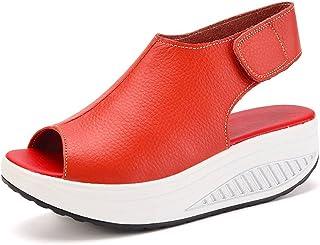 cdf0d36683a09 DAFENP Sandales Compensées Femme Été Sandales Plateforme Confort Cuir  Chaussures Talon pour Marcher