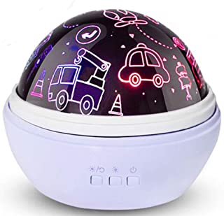 Boys Night Light,Baby Star Projector,Car Gifts for Guys,Plane,Truck,Bus,Fire Truck,Boys Gifts for 1-8 Years Old (Blue)