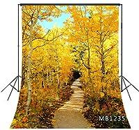 LB 写真撮影用 背景布 1.8×2.7m/6x9ft 秋の風景 自然風景 紅葉の森 バックペーパー 人物/商品撮影 背景シート 撮影スタジオ用 アイロンかけ可 折り畳み可 洗濯可能 新婚撮影