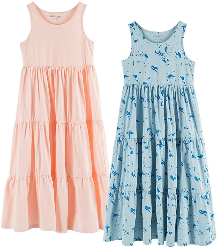 UNACOO Kids Girls 100% Cotton 1 2 Sleeveless Long Maxi High material Mail order cheap or Packs