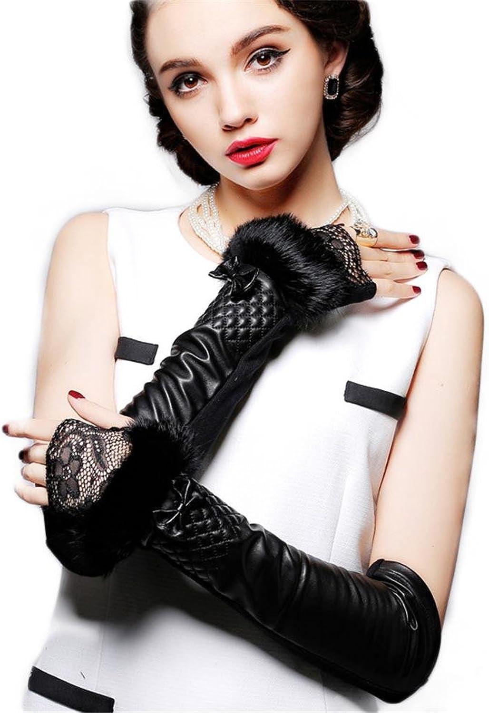 SHOU qiulv PU Lange Leder Handschuhe Frau Warm Half-Finger Handschuhe Wildleder Mode Thermal Dekoration Handschuhe Velour Linie Fustlinge Weiblich Weich Vlies Kaschmir Gefüttert Handschuh