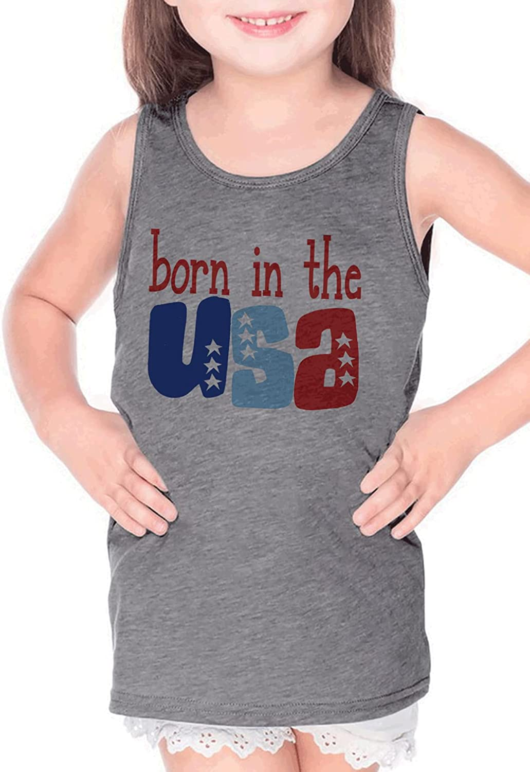 7 ate 9 Apparel Kids 4th of July Born in The USA Grey Tank Top