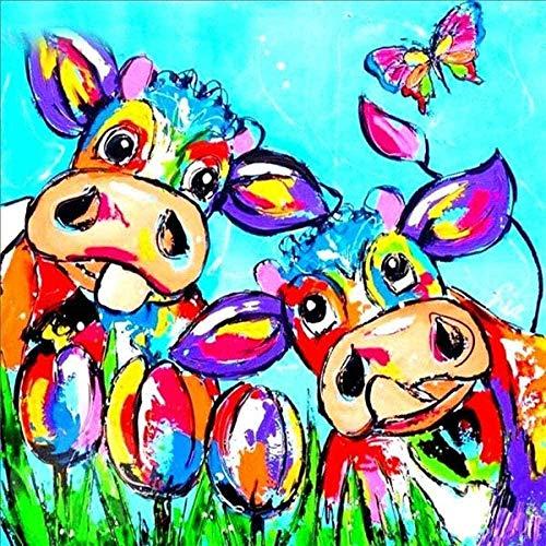 dxycfa DIY pintura digital DIY pintura al óleo digital mural decoración del hogar pintura acrílica con lengua fuera de vaca y tulipán -40x50cm sin marco