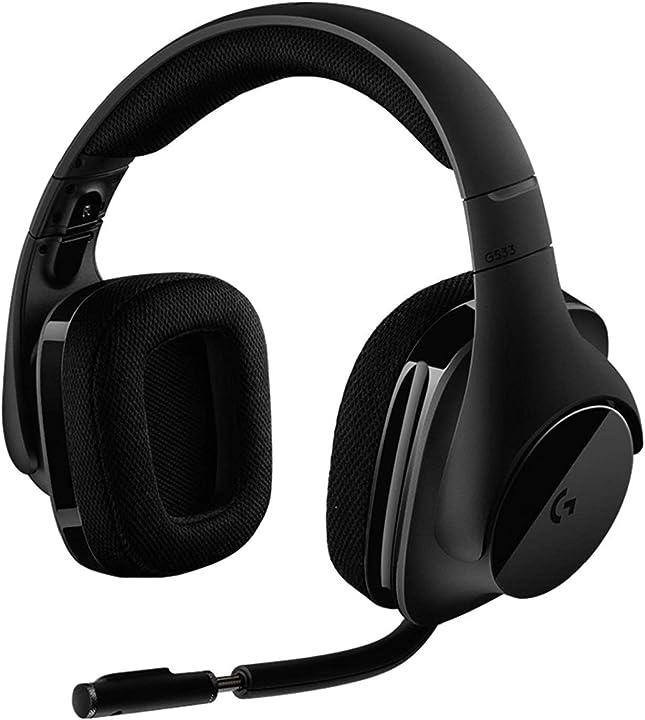 Cuffie gaming wireless con microfono, audio surround 7.1 logitech g533