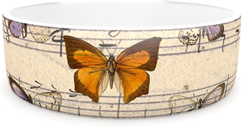Kess InHouse Suzanne Carter Butterfly Opera  Pet Bowl, 7Inch, Music Tan