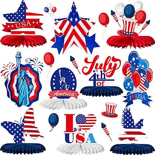 10 Stücke Unabhängigkeitstag Mittelstücke Patriotische Waben Mittelstücke 4. Juli Dekorationen I Love USA Adler Schmetterling Tischdekoration Unabhängigkeitstag Party Zubehör