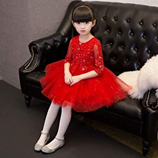 Luxury Puff Princess Skirt Beaded Gauze Chinese Girl Bouquet of Red Short Dress with Flower Little Girl Show Host Costumes Western Style Piano ryq (Color : Red, Size : 130cm)