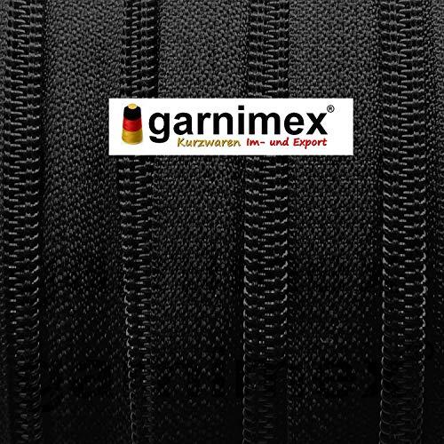 garnimex Endlos-Reißverschluss 5 mm schwarz - 5 m Meterware mit 15 Zippern - Farbe 039