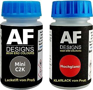 Lackstift für Mini C2K Melting Silver Metallic + Klarlack je 50ml Autolack Basislack Set
