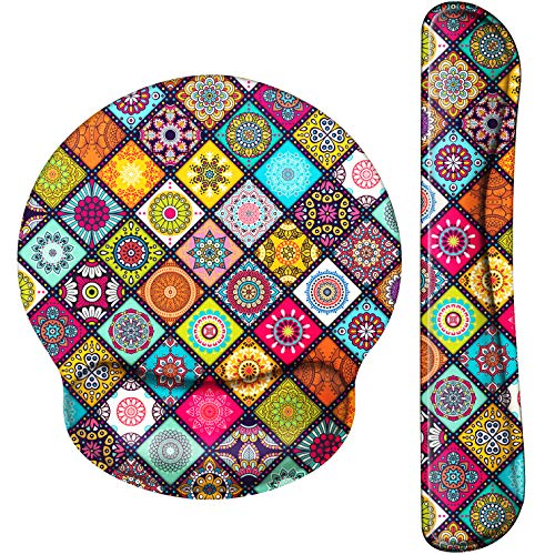Mouse Pad with Wrist Support Ergonomic Gel, Keyboard Wrist Rest for Computer Keyboard with Raised Memory Foam for Desktop/Laptop/Notebook,Colorful Mandala Round