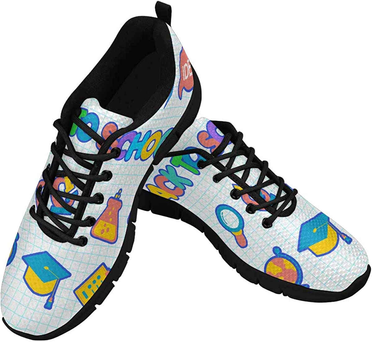 INTERESTPRINT Back to School Women's Lightweight Athletic Casual Gym Sneakers