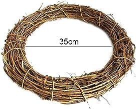 Corona de madera natural para puerta, corona de mimbre sin pelar, corona de ratán, decoración de mesa, decoración de pared, primavera primavera, decoración para Navidad, Halloween