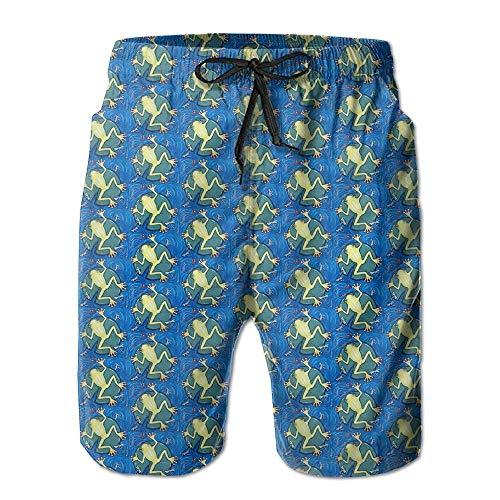 Kleiner grüner Laubfrosch gedruckt Herren Beach Shorts Board Badehose Quick Dry Badeanzug mit Mesh-Futter,Größe XL