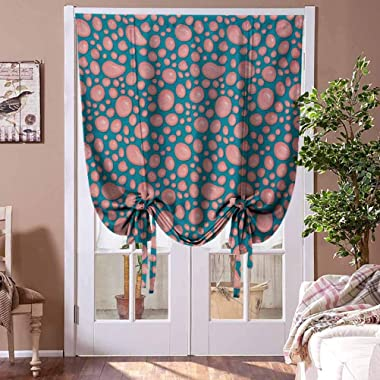 Kitchen Curtains and Valances Pale Pink Energy Saving Curtain Drops and Round Splash of Bubble Gum on Blue Background in Cart