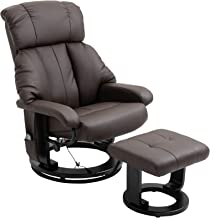 HOMCOM PU Leather Massage Swivel Recliner Chair and Ottoman with Bentwood Base - Brown