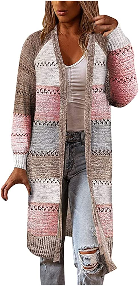 NP Women Comfy Stitching Long Sleeve Sweater Female Casual Long Autumn Winter