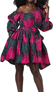 One Shoulder African Floral Dress 3D Printed Dress with Belt for Party Rave Wedding