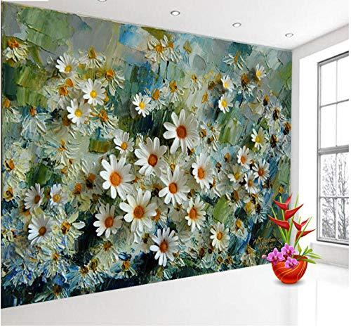 Fototapete Tapeten Wandbilder Effekt-Blumen-Foto des Ölgemälde-3D Tapete Wandtapeten Für Schlafzimmer Wohnzimmer Büro (W) 300X(H) 210Cm