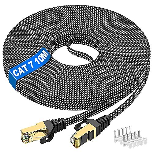 Câble Ethernet 10m, Cat 7 Haute Vitesse Cable RJ45 Réseau...