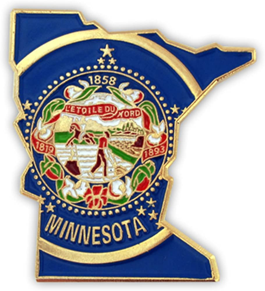 PinMart State Shape of Minnesota Pin Lapel Max 52% OFF Omaha Mall and Flag