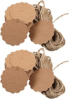 Toyvian Kraft Paper Gift Tags with String Blank Tags with Holes Creative Handmade Hang Tag Party Tag Label for Valentines Day Wedding Birthday Party Favor Supplies