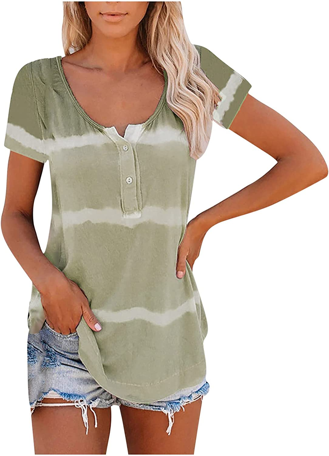 MeikoHome Stripe Tunic Top for Women Round Neck Tshirt Half Button Tees Short Sleeve T Shirt Soft Casual Pullover