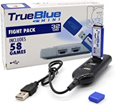 The perseids True Blue Mini Fight Pack USB Flash Drives 32GB Game Memory Stick with 4-Port Hub for Playstation Classic - Includes 58 Games (Fight Pack)