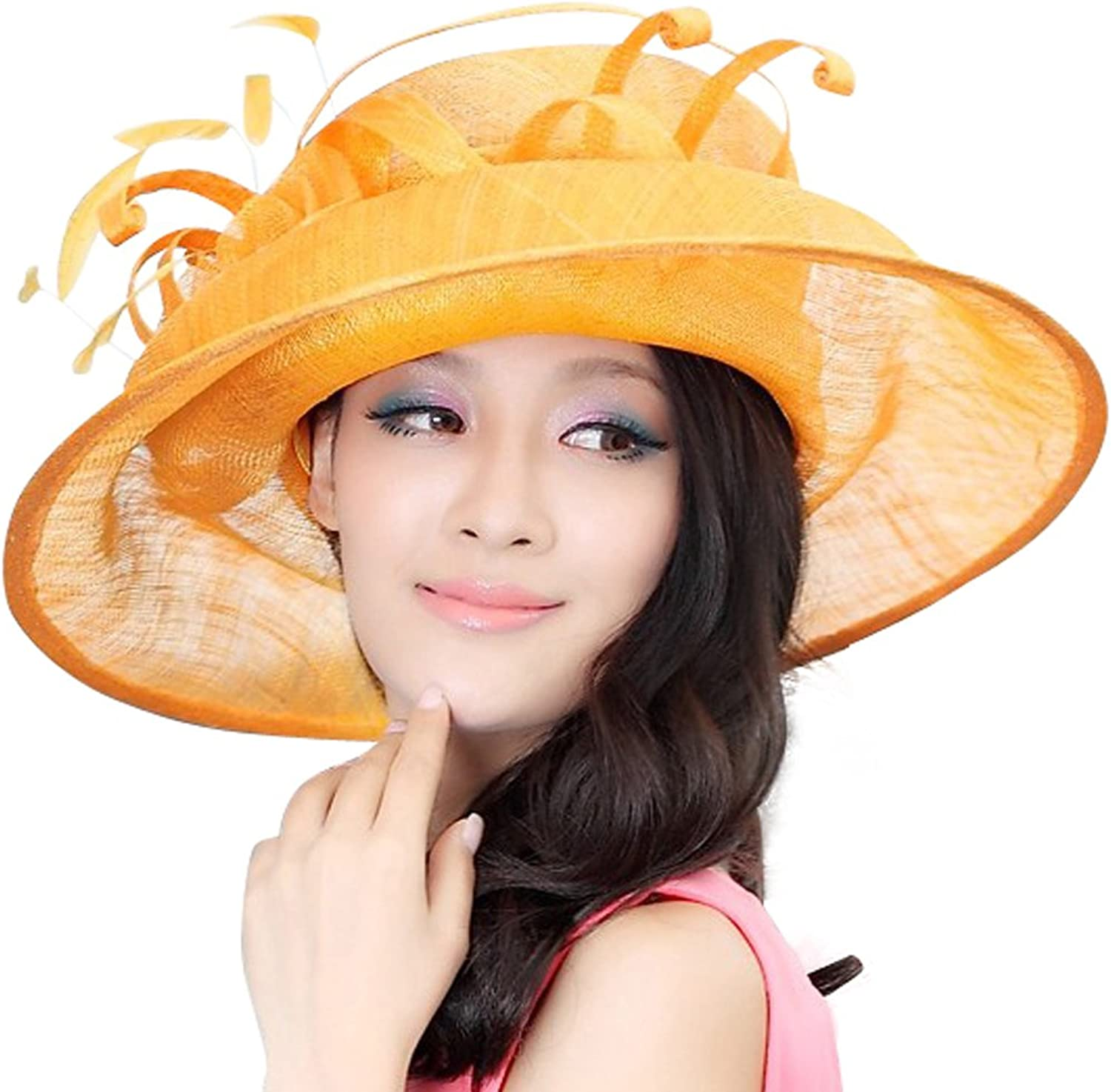 June's Young Women Hat Sinamay Fabric Base Wide Brim For Formal Dress Hat