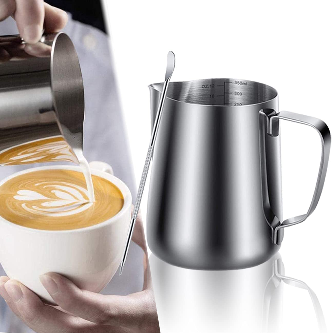Milk Frothing Pitcher 12oz / 350ML Espresso Steaming Pitcher,wit