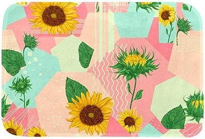 EGGDIOQ Doormats Sunflower Polygon Background Custom Print Bathroom Mat Waterproof Fabric Kitchen Entrance Rug, 23.6 x 15.7in
