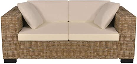 Festnight 7 Piece 2 Seater Sofa Seat Cushion and Pillow Sofa Set Living Room Furniture Real Rattan