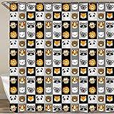 KGSPK Duschvorhang,Cartoon Tiere Tiergesicht Cartoon Löwenfuchs Panda Koalabär Schwein Tigerfuchs AFFE Katze Muster,Wasserfeste Bad Vorhang aus Polyestergewebe mit 12 Haken Duschvorhang 180x180cm