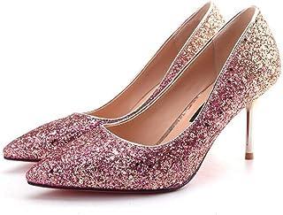 8d6d6dfd13e3 CBDGD Chaussures à Talons Hauts PU Femme Paillettes de Mariage tempérament  Chaussures à Talons Hauts Princesse