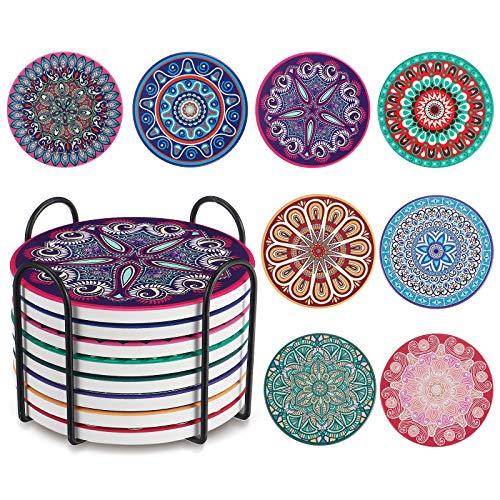 JOSEKO Premium Design Untersetzer 8er Pack Dekorative Untersetzer fur Glas, Tassen, Vasen, Kerzen auf ihrem Holz-, Glas- oder Stein- Esstisch Böhmischer Stil