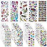 Rluobo Adesivi per Bambini, 960+ Adesivi 3D Stickers per Puffy Adesivi per Regali Gratificanti Scrapbooking Inclusi Camion, Dinosauri, Animali, Pesci, Numeri, Frutta, Lettera ECC(40 Fogli)