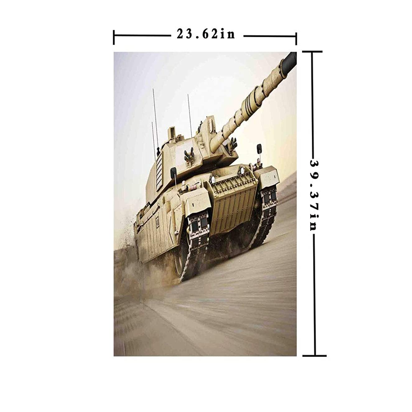 3D No Glue Static Decorative Privacy Window Films,Military Tank Moving Speedy with Motion Blur over Sand Dangerous Artillery Weapon,W15.7xL63in,For Living Room Bathroom Kitchen Front Door with Beige