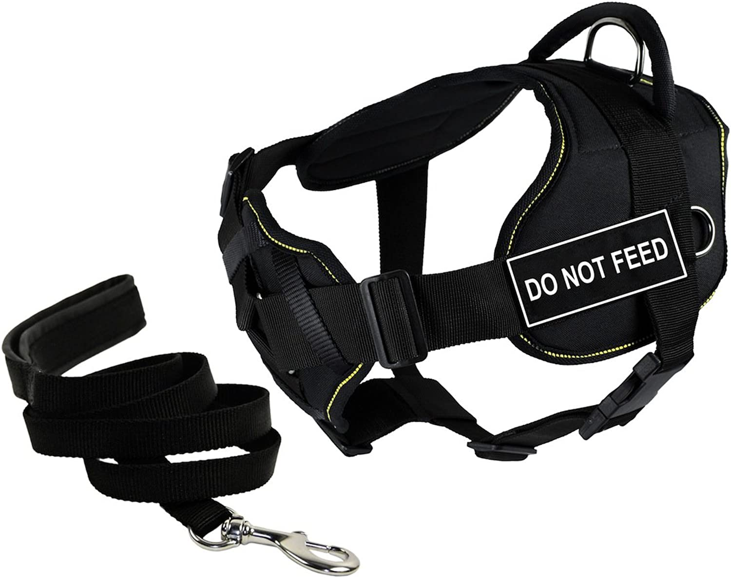 Dean & Tyler's DT Fun Chest Support DO NOT FEED Harness, Small, with 6 ft Padded Puppy Leash.
