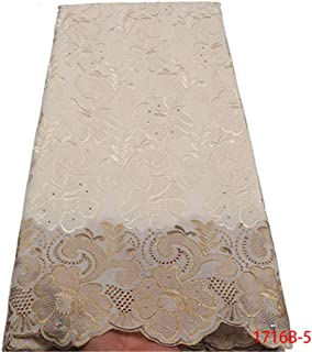 African Dry Lace Fabric Swiss With Stones Swiss Cotton Lace White Lace Fabrics For Wedding NA1716B-2 Picture 5