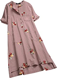 9bcfc87b44a Tunic Dresses For Women Short Sleeve Floral Embroidered Pockets Irregular  Dresses