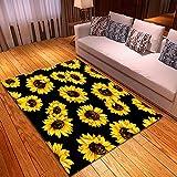 DRTWE Alfombra,Teppich,Nordic Sunflower Printed Velvet Area Rug Living Room Anti-Skid Soft Fluffy Shaggy Rug Bedroom Doorway Carpet Nursery Play Pad Hallway Carpet Runner,100 * 150Cm