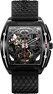 Relojs Hombres Automático Esqueleto Mecánico Analógico 3ATM Caja de Acero Inoxidable Correa de Silicona Reloj Dial Tonel C...