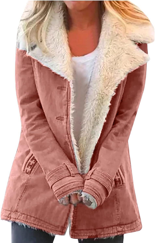 Womens Winter Outwear Warm Composite Plush Coat Button Lapels Jacket Plus Size Overwear Fleece Tops Blouse