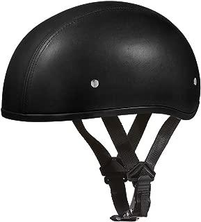 Daytona Helmets Motorcycle Half Helmet Skull Cap- Leather Covered W/O Visor 100% DOT Approved