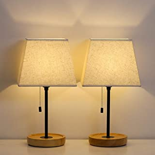 HAITRAL Modern Table Lamps - Minimalist Bedside Lamps Set of 2, Nightstand Desk Lamp with Convenient Pull Chain and Wood Base for Bedroom, Living Room, Guest Room, Office (HT-ATH80-29X2)