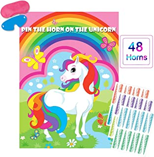 Pin The Horn On The Unicorn Party Game Large Unicorn Poster Games for Kids Unicorn Birthday Party Decorations, Rainbow Unicorn Party Supplies
