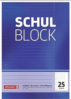 Brunnen 1052525 Schoolblok/notitieblok (A4, 50 vellen, gelinieerd, met rand, liniatuur 25, geperforeerd, kopverlijmd, 70 ...
