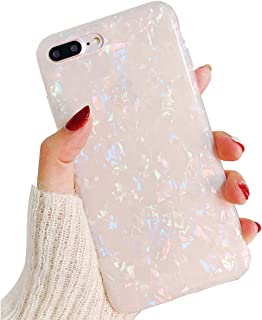 Cute Bling iPhone 8 Plus Case Clear Silicone iPhone 7 Plus Case for Girls,iPhone 6S Plus Case Thin Protective iPhone 6 Plus Case TPU Bumper Cover Shockproof Case for Apple iPhone 8 7 6S 6 Plus-White