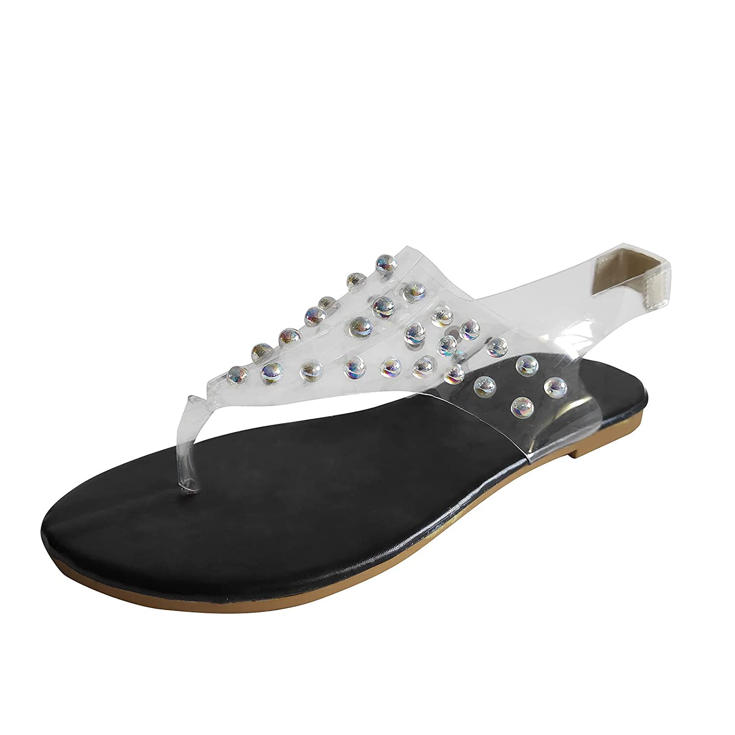 Reokoou Spring new work Women Sandals Limited time trial price Beach Open P Toe Transparent Slippers Flat