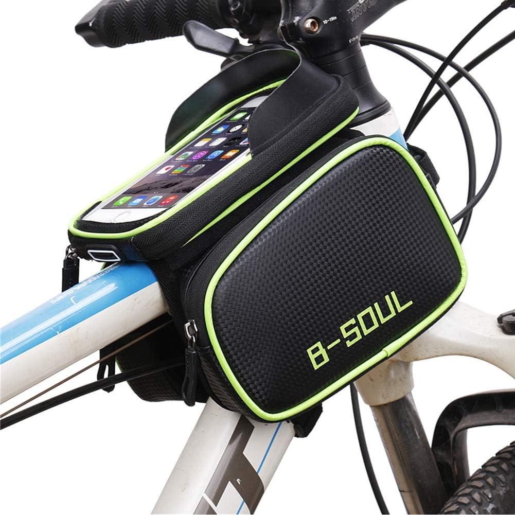 Bolsas Impermeable para Bicicleta de Monta/ña con Pantalla T/áctil y Visera Bolso del Marco de la Bici para Tel/éfonos M/óviles de Menos 6 Pulgadas Qomolo Bolsa de Bicicleta con Cubierta de Lluvia